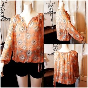 Lucky Brand NWT 100% Silk Top Coral w/tribal print
